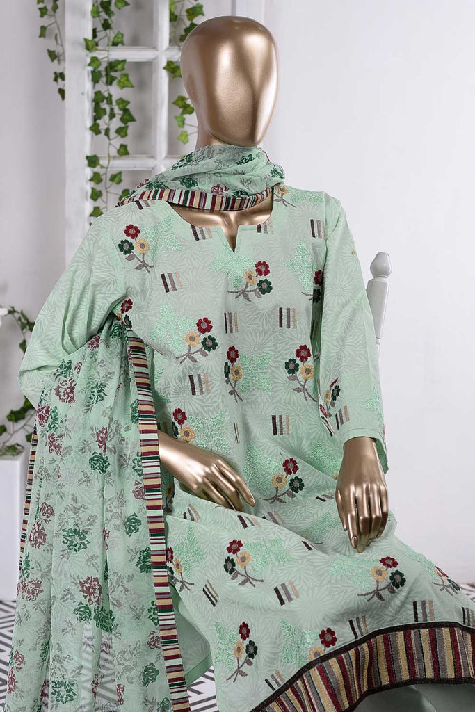 Sun Flower Tile (SC-58B-Light Green) Embroidered Cambric Dress with Embroidered Chiffon Dupatta