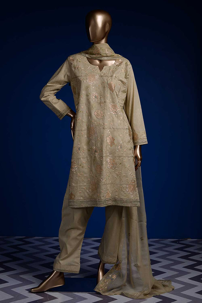 Tart Square (SC-59B-Skin) Embroidered Cambric Dress with Embroidered Chiffon Dupatta