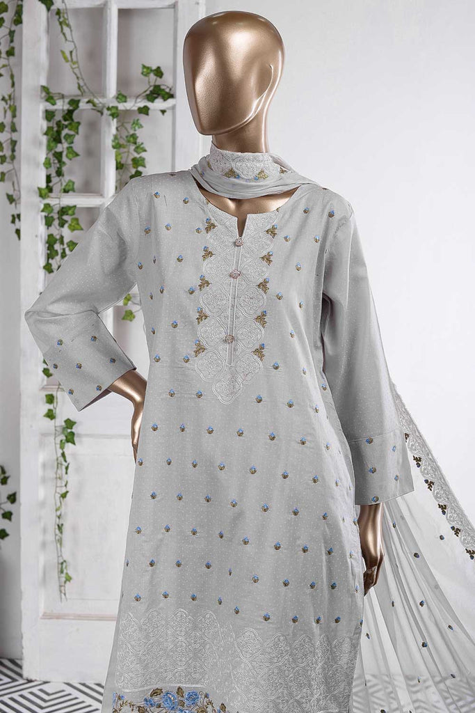 Wavy Sensation (SC-60A-Grey) Embroidered Un-Stitched Cambric Dress With Embroidered Chiffon Dupatta