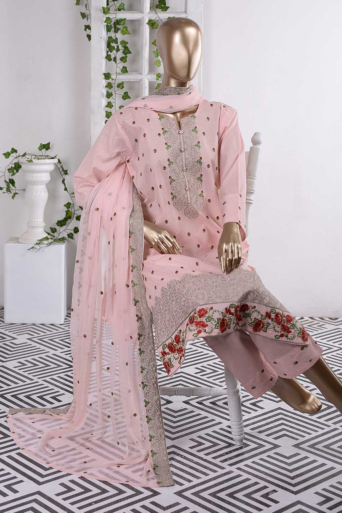Wavy Sensation (SC-60B-Pink) Embroidered Un-Stitched Cambric Dress With Embroidered Chiffon Dupatta