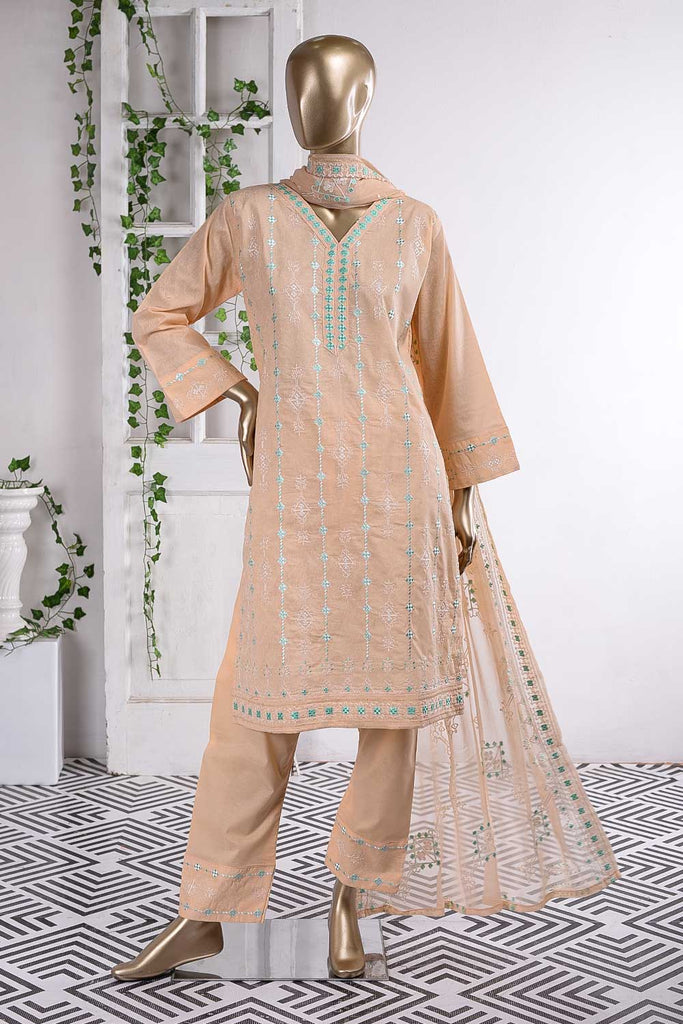 Lock Rope (SC-61A-Light Peach) Embroidered Cambric Dress with Embroidered Chiffon Dupatta