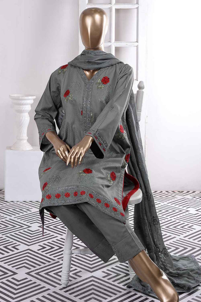 Red Carpet (SC-66B-Grey) Embroidered Cambric Dress with Embroidered Chiffon Dupatta
