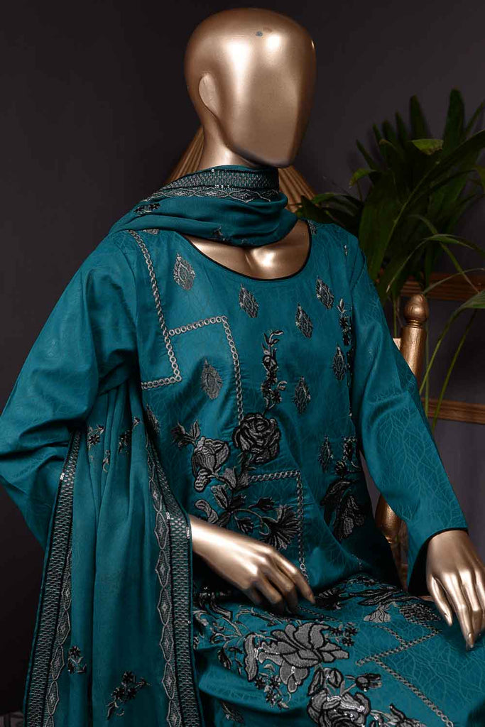 Fairy Tale (SC-67B-Blue) Embroidered Cambric Dress with Embroidered Chiffon Dupatta