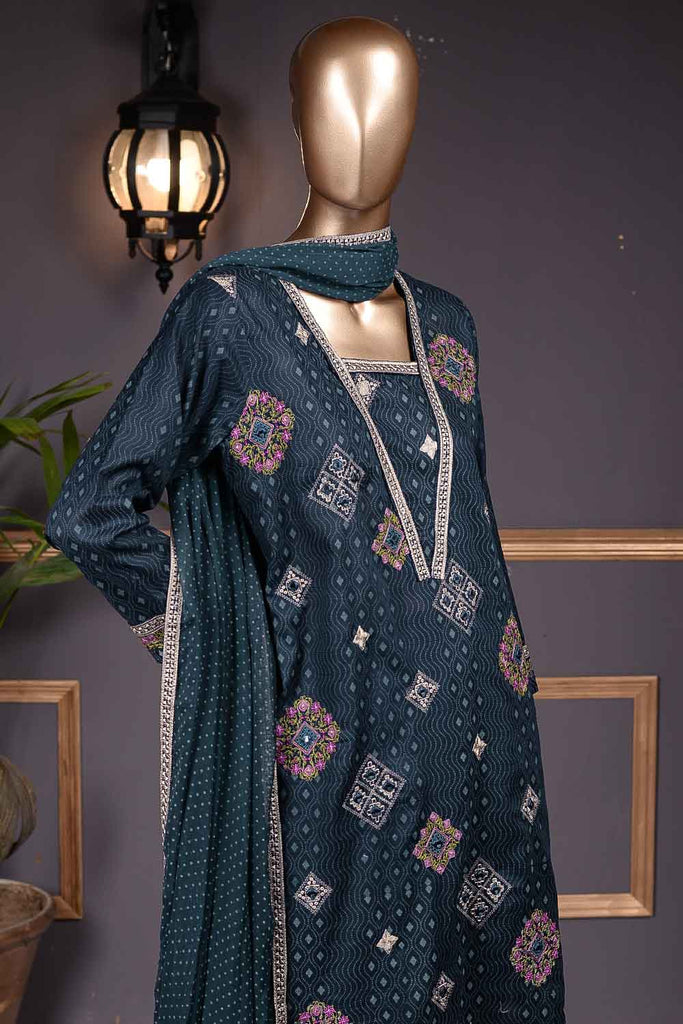 Burfi Sheesha (SC-68A-Blue) Embroidered Cambric Dress with Embroidered Chiffon Dupatta