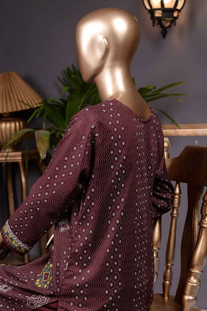 Burfi Sheesha (SC-68B-Maroon) Embroidered Cambric Dress with Embroidered Chiffon Dupatta