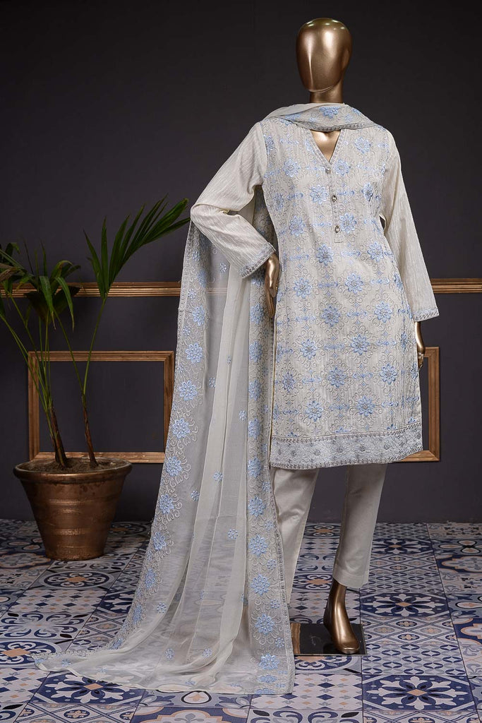 Precious (SC-73B-White) Embroidered Cambric Dress with Embroidered Chiffon Dupatta