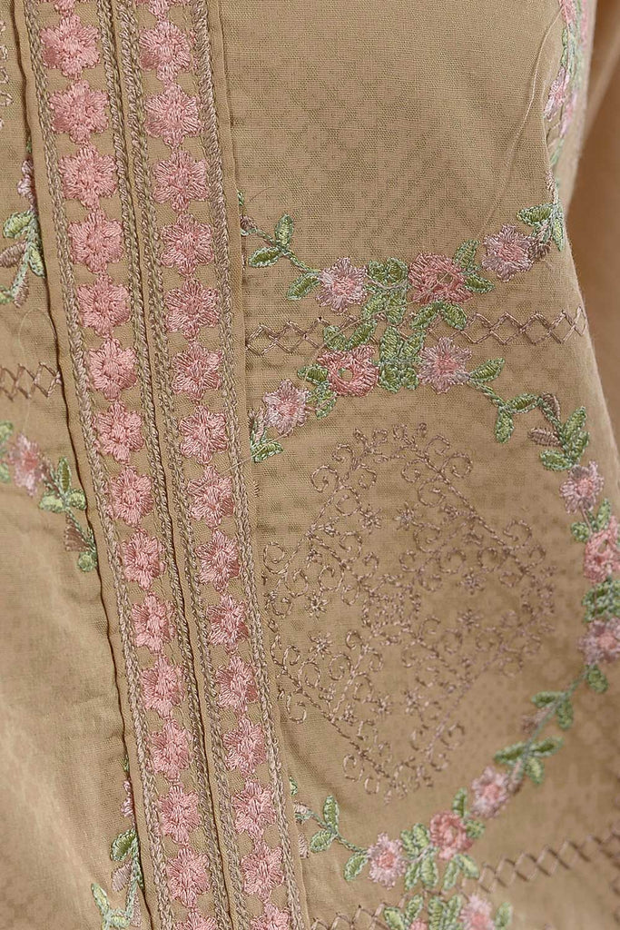 Sea Holes (SC-36A-Skin) Embroidered Un-Stitched Cambric Dress With Embroidered Chiffon Dupatta