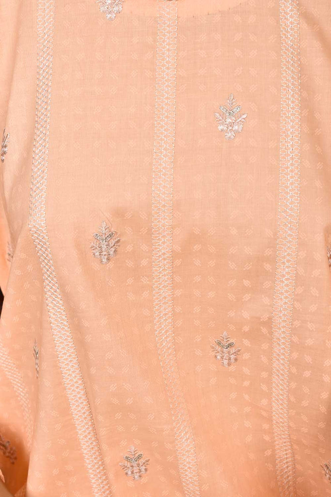 Sea Shore (SC-133B-Peach) Embroidered & Printed Un-Stitched Cambric Dress With Embroidered Chiffon Dupatta