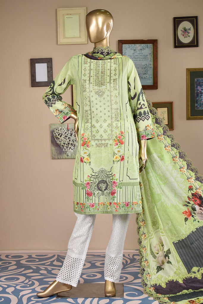 Selene Rose (F3-01) - 3 Pc Unstitched Embroidered Digital Printed Cambric with Embellishments of Sequins and Mirror Work along with Schiffli Trouser and Cut-Work Embroidered Lawn Digital Dupatta
