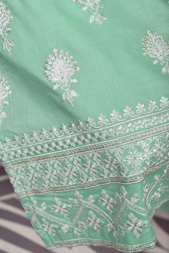 Sequins Drop (SC-136B-Green) Embroidered & Printed Un-Stitched Cambric Dress With Embroidered Chiffon Dupatta