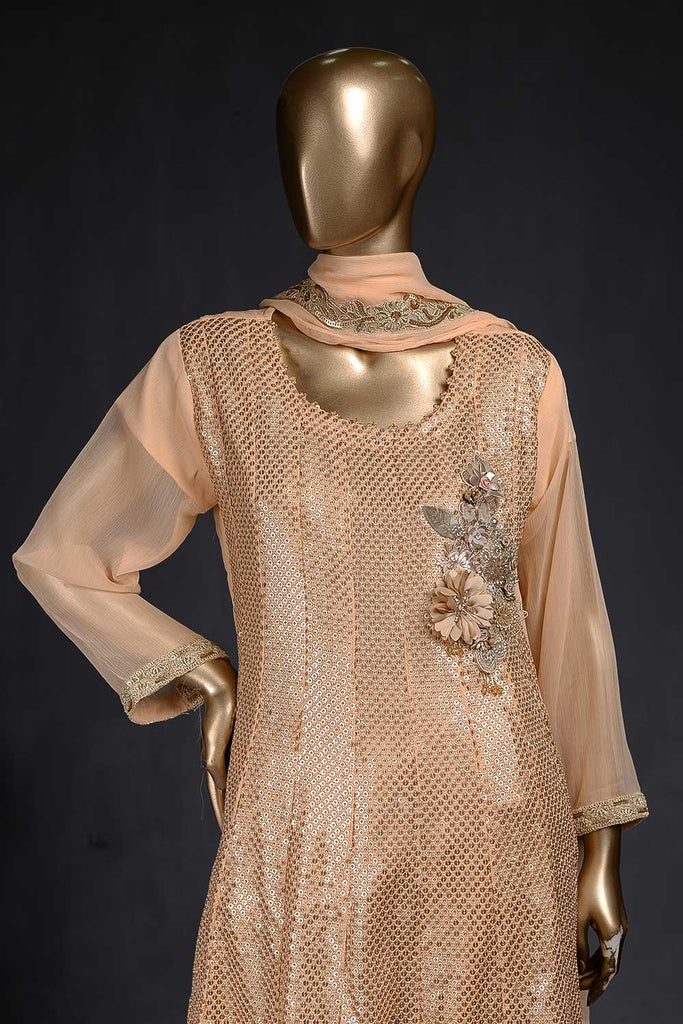 Shining Lake (F-104-Orange) - Chiffon Semi-stitched Embroidered Dress