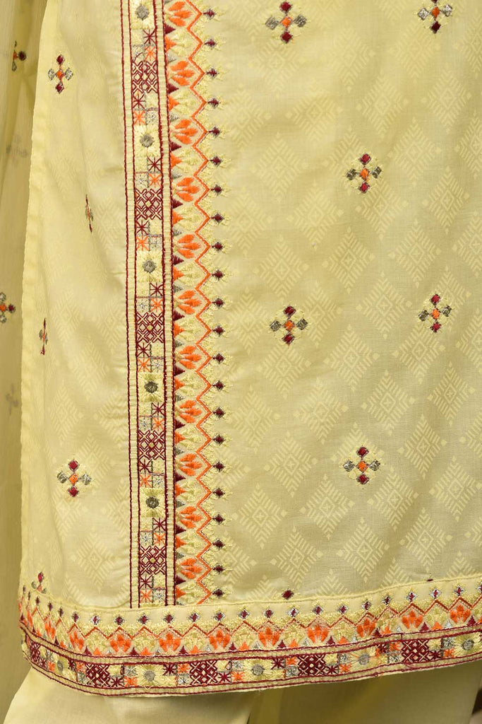 Sindhi Star (SC-131A-Lemon) Embroidered & Printed Un-Stitched Cambric Dress With Embroidered Chiffon Dupatta