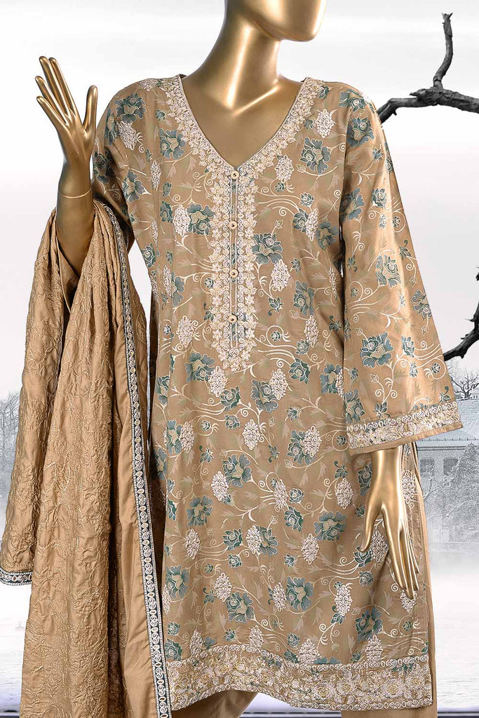 Sona Chandi (SW-2A-Brown) | 3 Pc Unstitched Printed & Embroidered Linen Dress