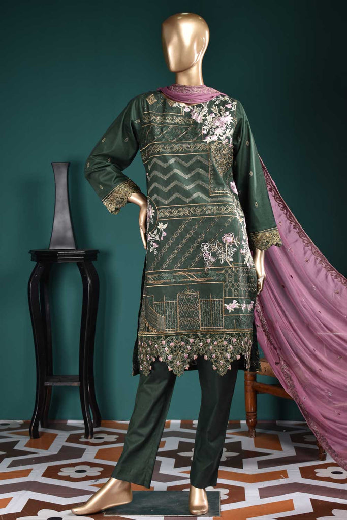 Special Motifs (SC-110A-DarkGreen) Embroidered Un-Stitched Cambric Dress With Embroidered Chiffon Dupatta