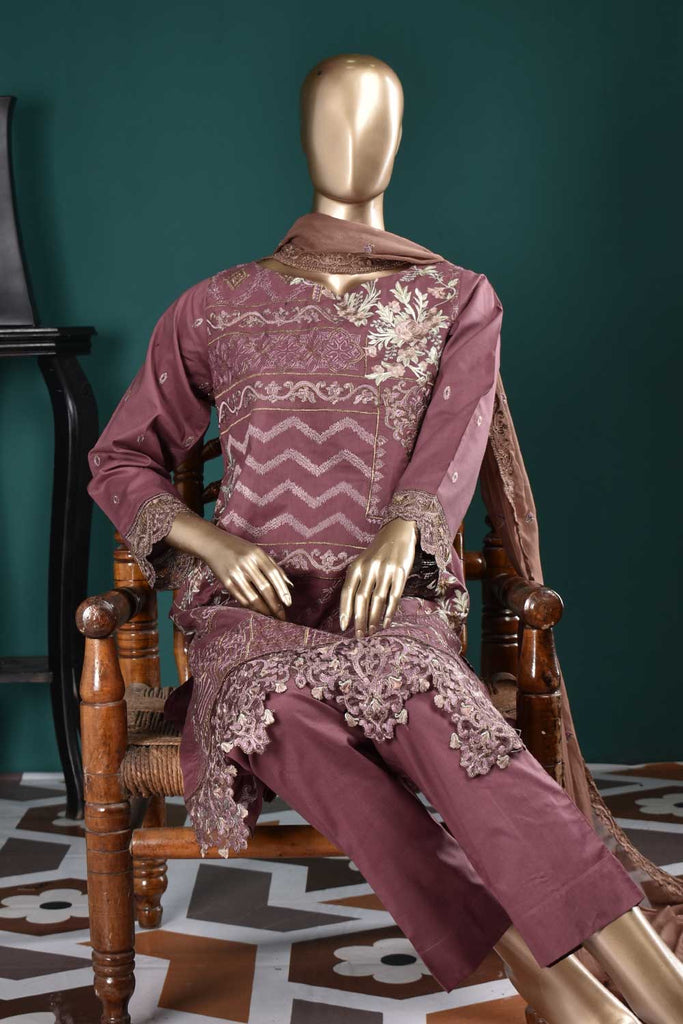 Special Motifs (SC-110B-Magenta) Embroidered Un-Stitched Cambric Dress With Embroidered Chiffon Dupatta