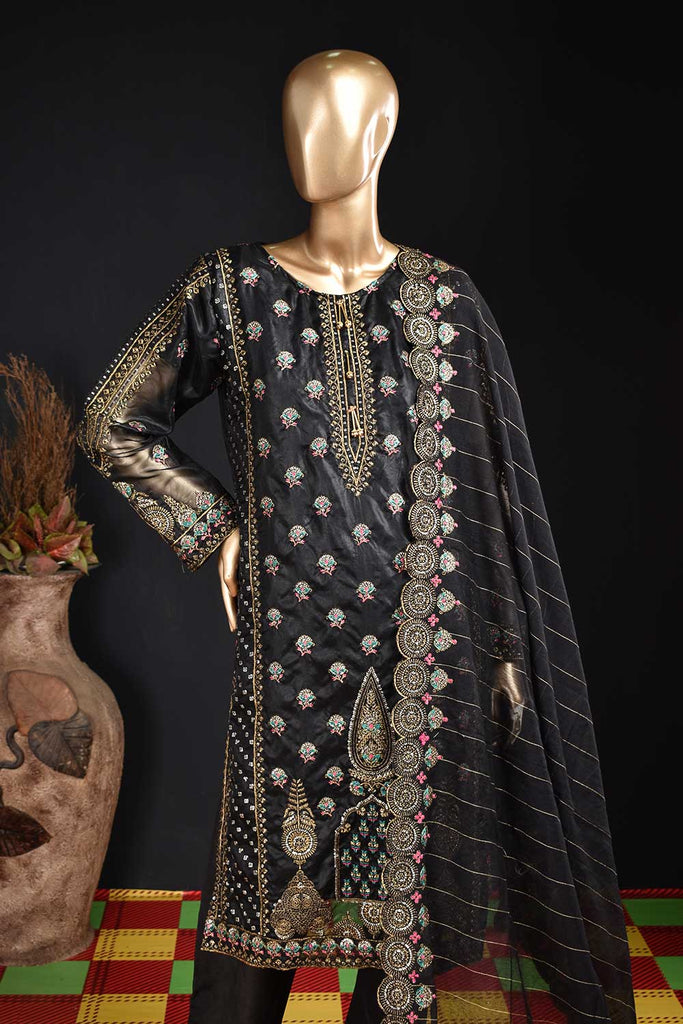 Stygian (ZO-03-Black) 3 Pc Unstitched Organza Embrodiered Dress with Mysoori Cutwork Embroidered Dupatta with embellished tassels and Raw Silk Trousers