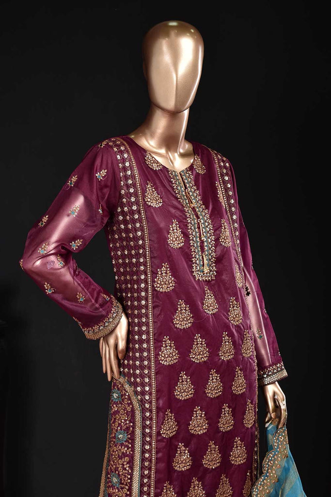 Sylvian Love (ZO-05-Purple) 3 Pc Unstitched Organza Embrodiered Dress with Mysoori Cutwork Embroidered Dupatta with embellished tassels and Raw Silk Trousers