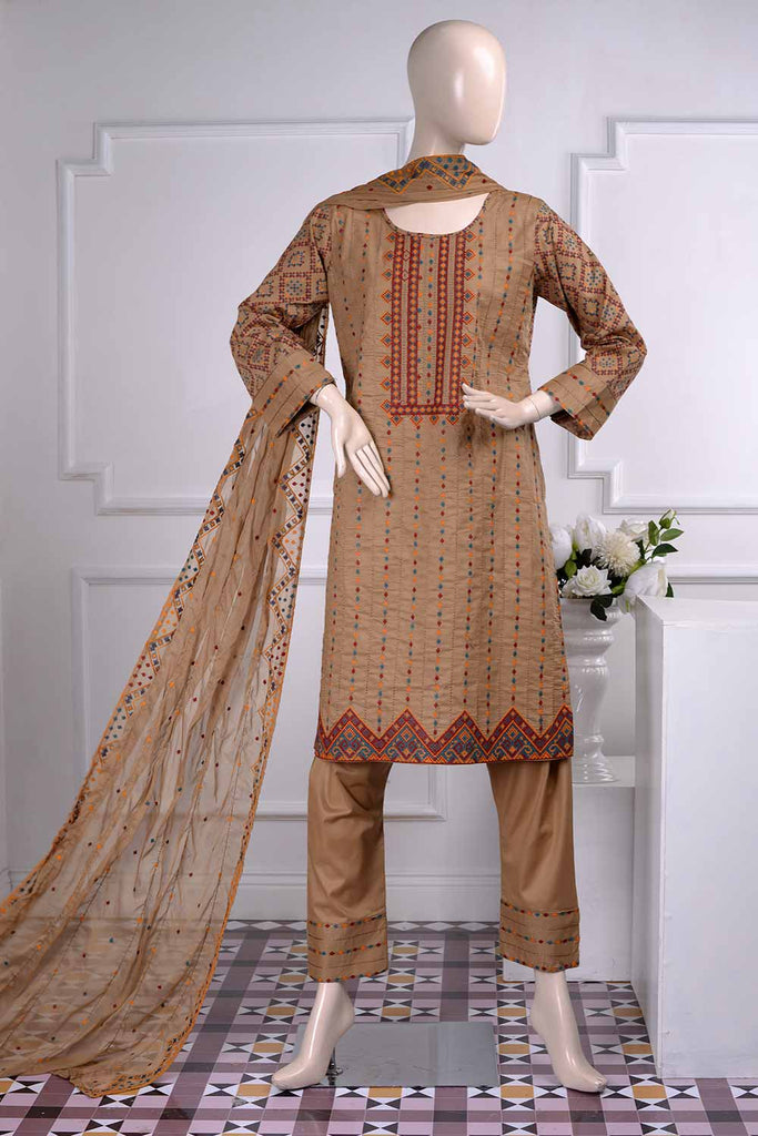 Tradition (SC-20C-Brown) Embroidered Un-Stitched Cambric Dress With Embroidered Chiffon Dupatta