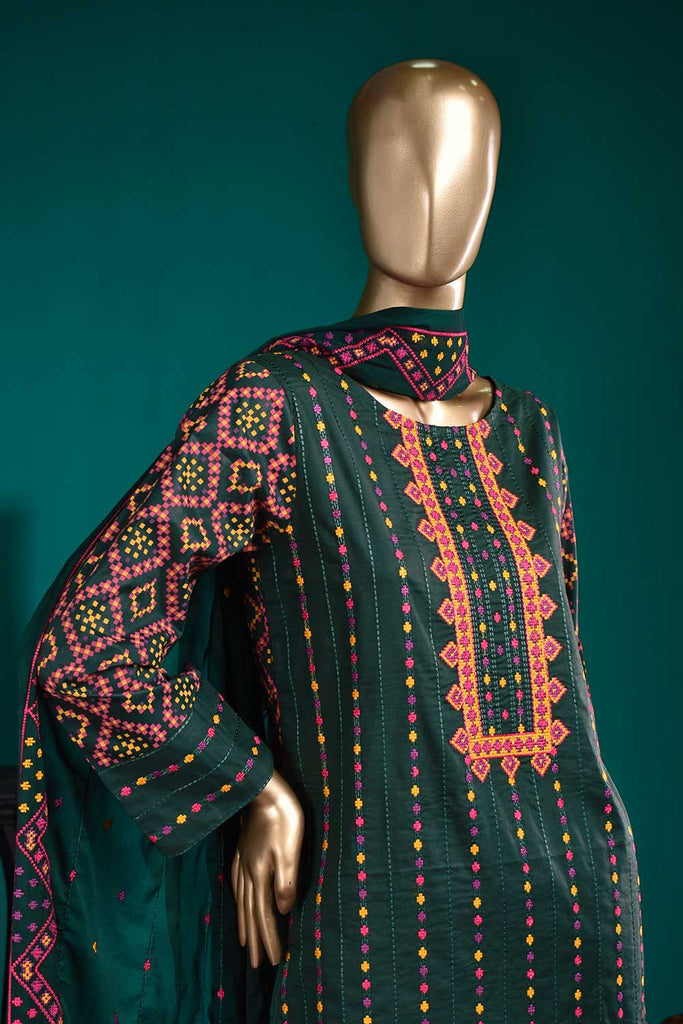 Tradition (SC-20D-DarkGreen) Embroidered & Printed Un-Stitched Cambric Dress With Embroidered Chiffon Dupatta