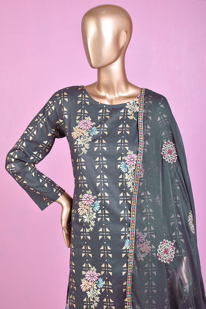 Triangle Flow (SC-78E-Grey) Embroidered & Printed Un-Stitched Cotton Dress With Embroidered Chiffon Dupatta
