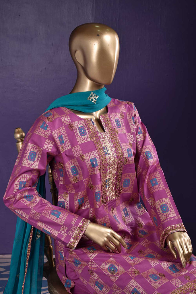 Vintage Boxes (SC-117B-Pink) Embroidered & Printed Un-Stitched Cambric Dress With Embroidered Chiffon Dupatta