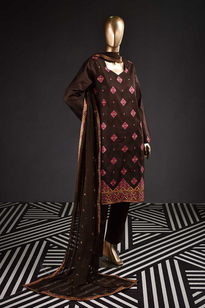 Vintage Era (SC-126A-Brown) Embroidered & Printed Un-Stitched Cambric Dress With Embroidered Chiffon Dupatta