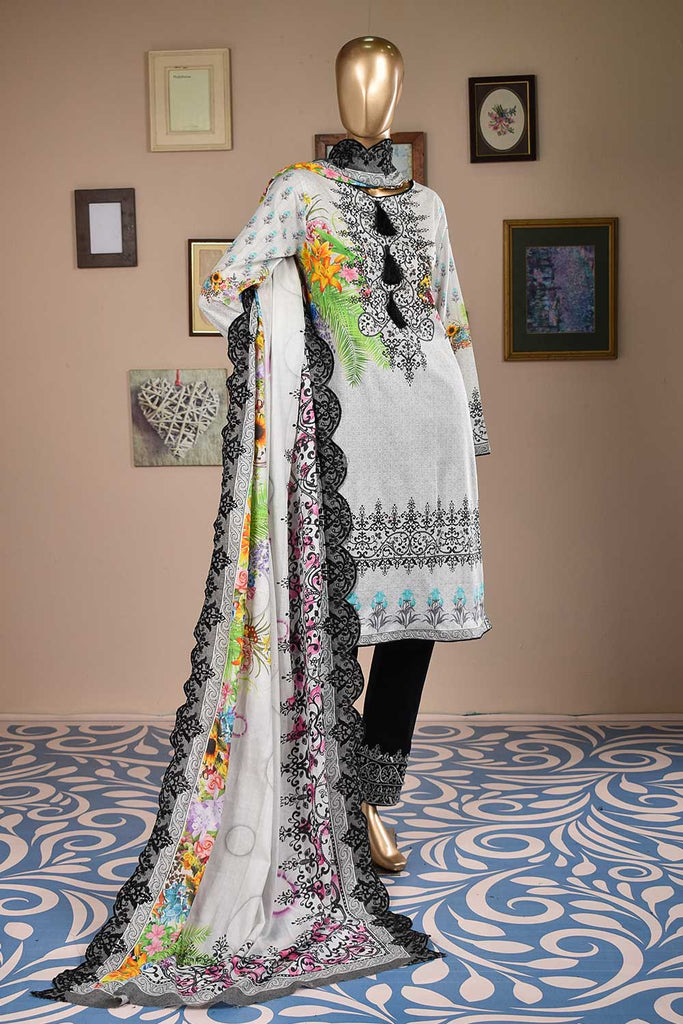 Vivid Waves (F3-05) - 3 Pc Unstitched Embroidered Digital Printed Cambric with Embellishments of Sequins and Mirror Work along with Schiffli Trouser and Cut-Work Embroidered Lawn Digital Dupatta