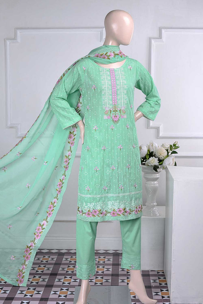 Wheat (SC-25A-Pista) Embroidered Un-Stitched Cambric Dress With Embroidered Chiffon Dupatta