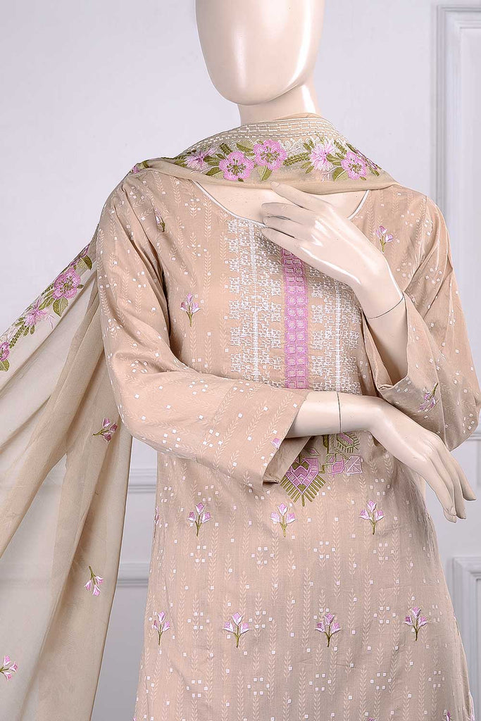 Wheat (SC-25B-Skin) Embroidered Un-Stitched Cambric Dress With Embroidered Chiffon Dupatta
