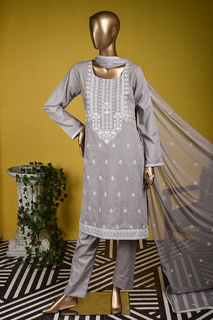 White House (SC-132A-Purple) Embroidered & Printed Un-Stitched Cambric Dress With Embroidered Chiffon Dupatta