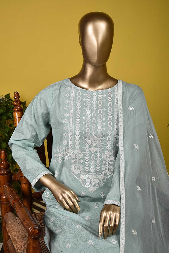 White House (SC-132B-SkyBlue) Embroidered & Printed Un-Stitched Cambric Dress With Embroidered Chiffon Dupatta