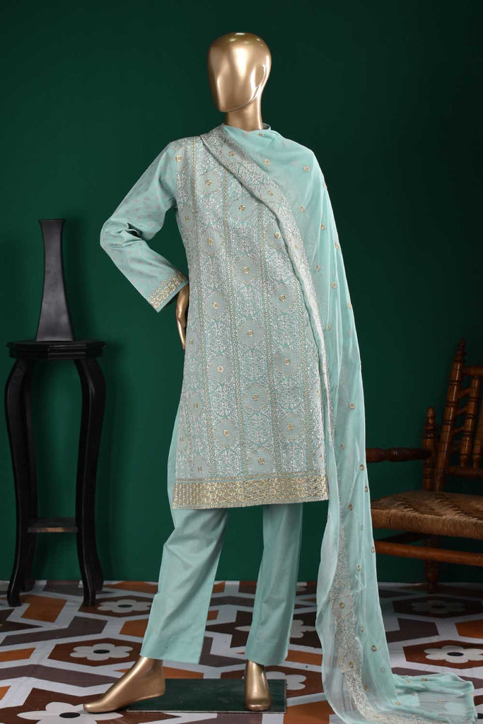Wood Craft (SC-113A-SkyBlue) Embroidered & Printed Un-Stitched Cambric Dress With Embroidered Chiffon Dupatta