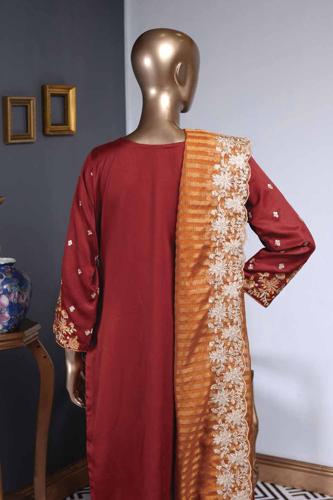 Charming Selene (ZS-01) | 3 Pcs Un-stitched Embroidered Silk Dress with Embroidered Mysoori Dupatta