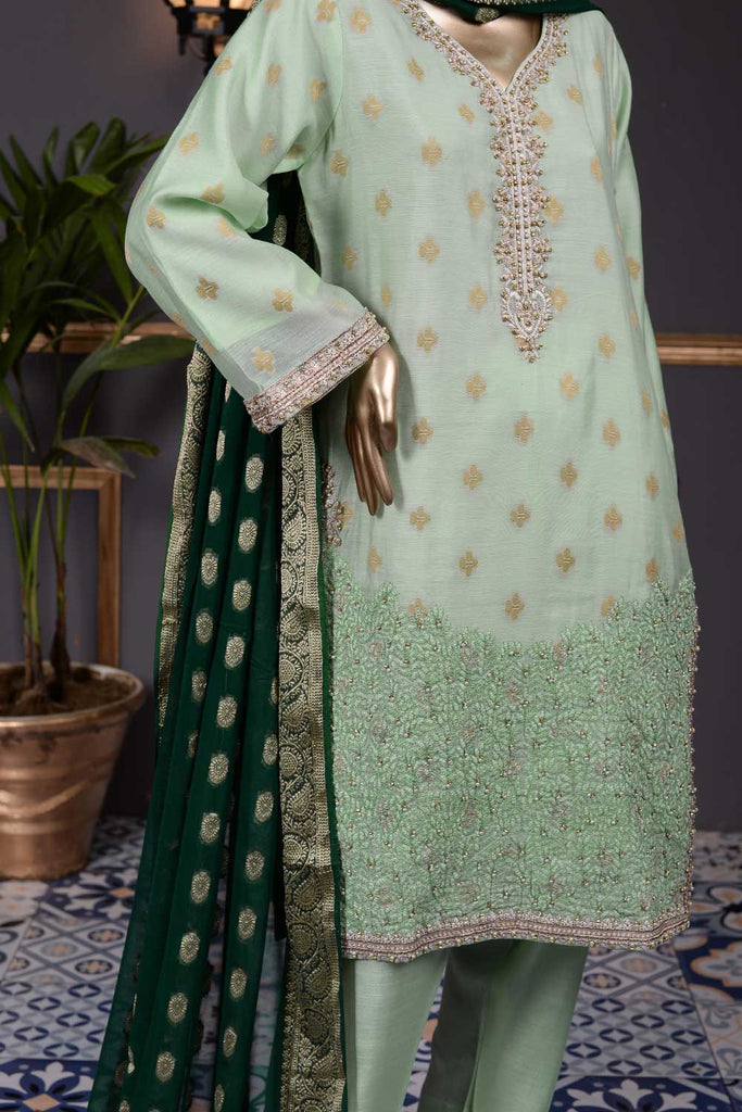 Earthly Tune (AF-1A) 3 Pc Unstitched Paper-Cotton Broshia Bunki Jacquard Embroidered Dress with Handicraft Cut-Dana work