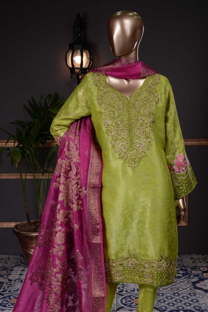Divine Gloria (AF-4A) 3 Pc Unstitched Mysoori Jacquard Embroidered Dress with Handicraft Cut-Dana work