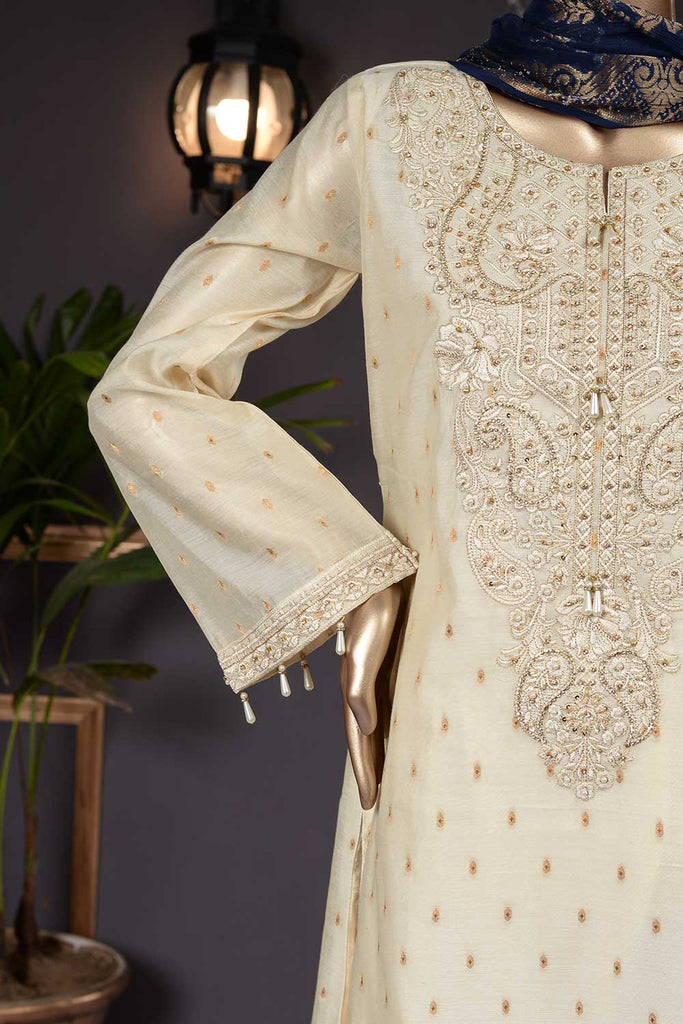 Majestic East (AF-5C) 3 Pc Mysoori Embroidered Dress with Handicraft Pearl work