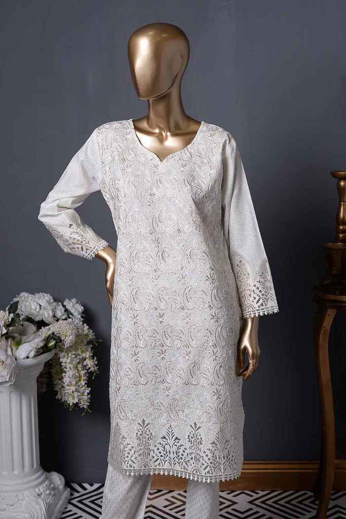 Shining Star (AC-2B) | White Unstitched Embroidered Cambric Kurti