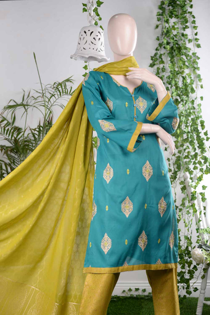 Delightful Affair (RM-1A) | Embroidered Un-stitched Lawn Dress with Cotton Banarsi Trouser & Lawn Banarsi Dupatta