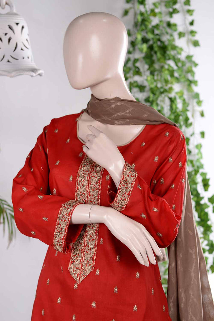 Stylish Flair (RM-2A) | Embroidered Un-stitched Lawn Dress with Cotton Banarsi Trouser & Lawn Banarsi Dupatta
