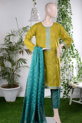 Stylish Flair (RM-2B) | Embroidered Un-stitched Lawn Dress with Cotton Banarsi Trouser & Lawn Banarsi Dupatta