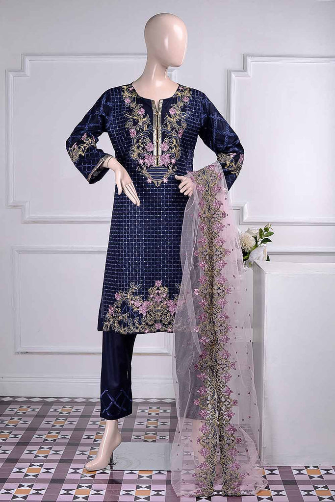 Thunderstorm (BZ-3C) | Embroidered Un-Stitched Cambric Dress With Net Embroidered Dupatta