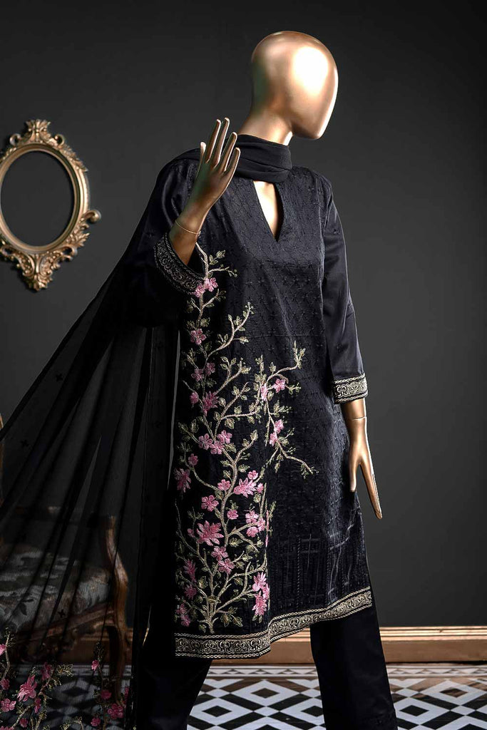 Tree (BZ-4C) Embroidered Un-stitched Black Cambric Dress with Chiffon Dupatta