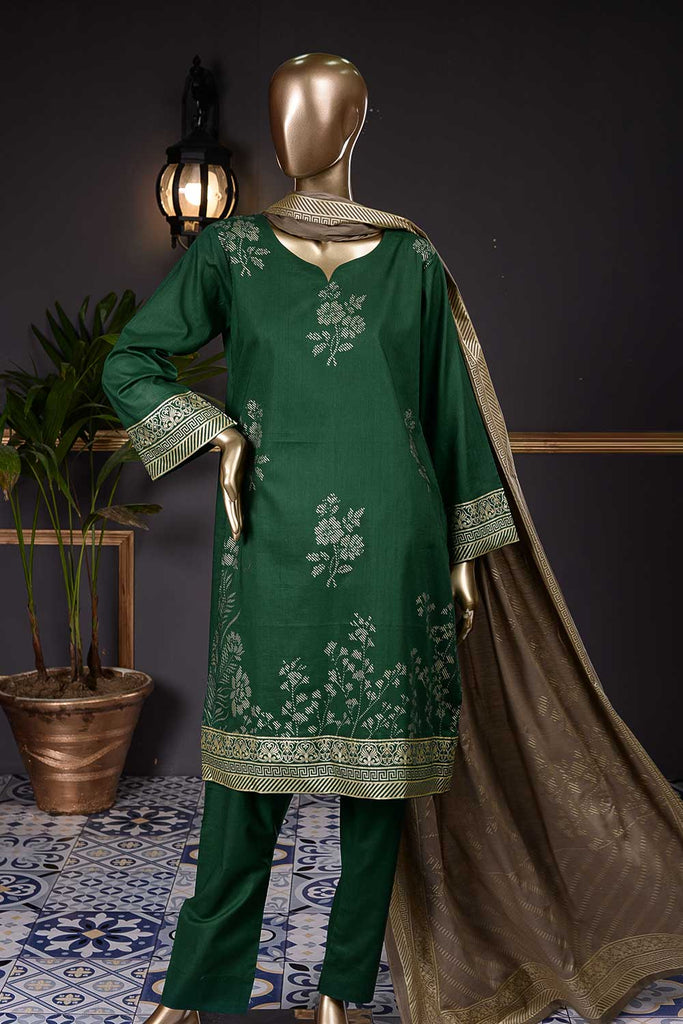 Pure Charisma (CC-1H) 3 Pc Green Un-stitched Printed Cambric Dress with Fawn Dupatta