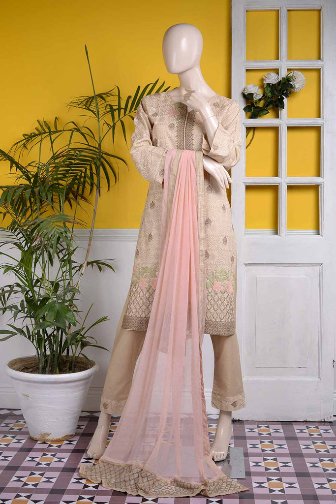 Cross Stitch (SC-11A-Skin) | 3 Pc Unstitched Embroidered Cambric Dress with Embroidered Chiffon Dupatta