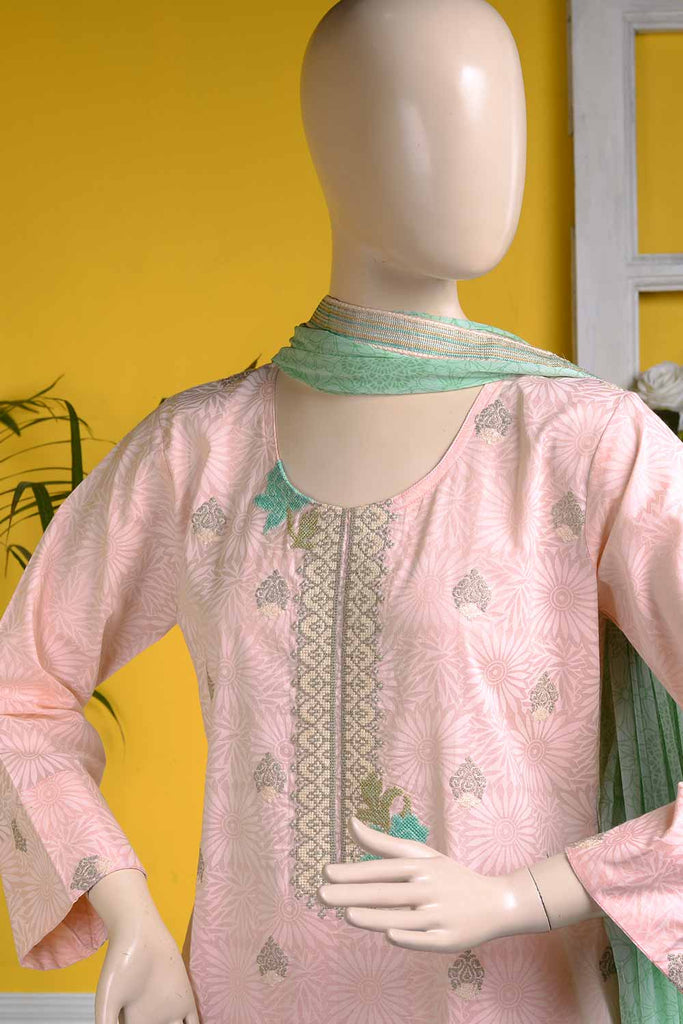 Cross Stitch (SC-11B-Light Pink) | 3 Pc Unstitched Embroidered Cambric Dress with Embroidered Chiffon Dupatta