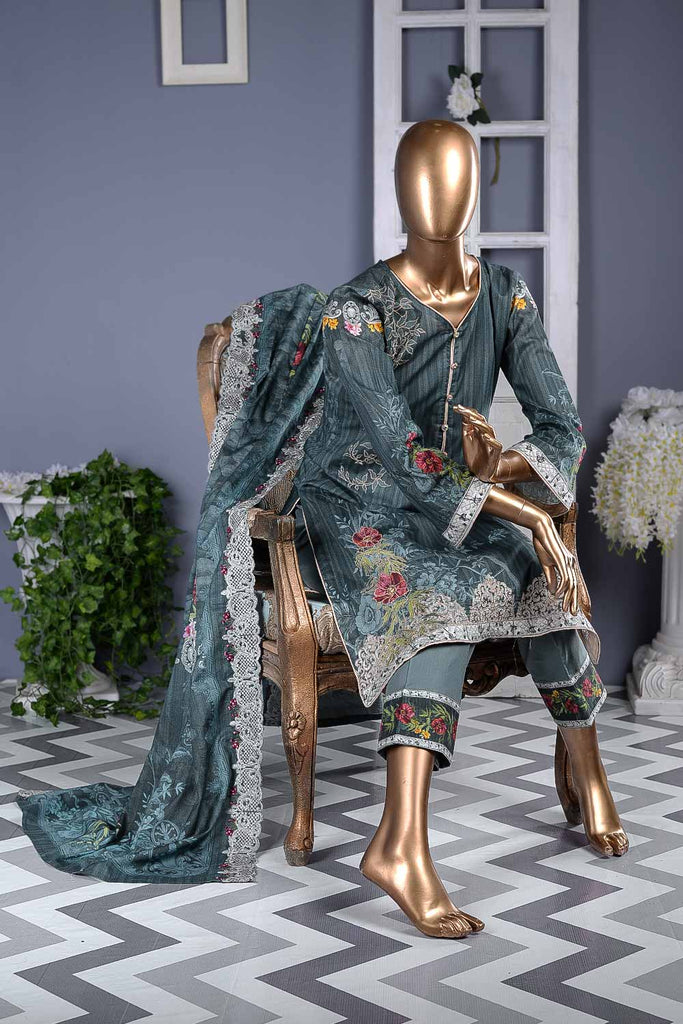 Style Zone (F2-01) | Un-stitched Digital Printed & Embroidered Cambric Suit