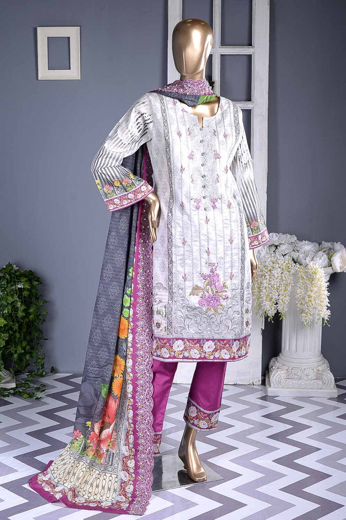 Quirky Way (F2-03) | Un-stitched Digital Printed & Embroidered Cambric Suit