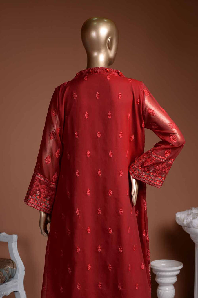 Ruby (G7-1A) Embroidered Red Chiffon Dress with Embroidered Chiffon Dupatta