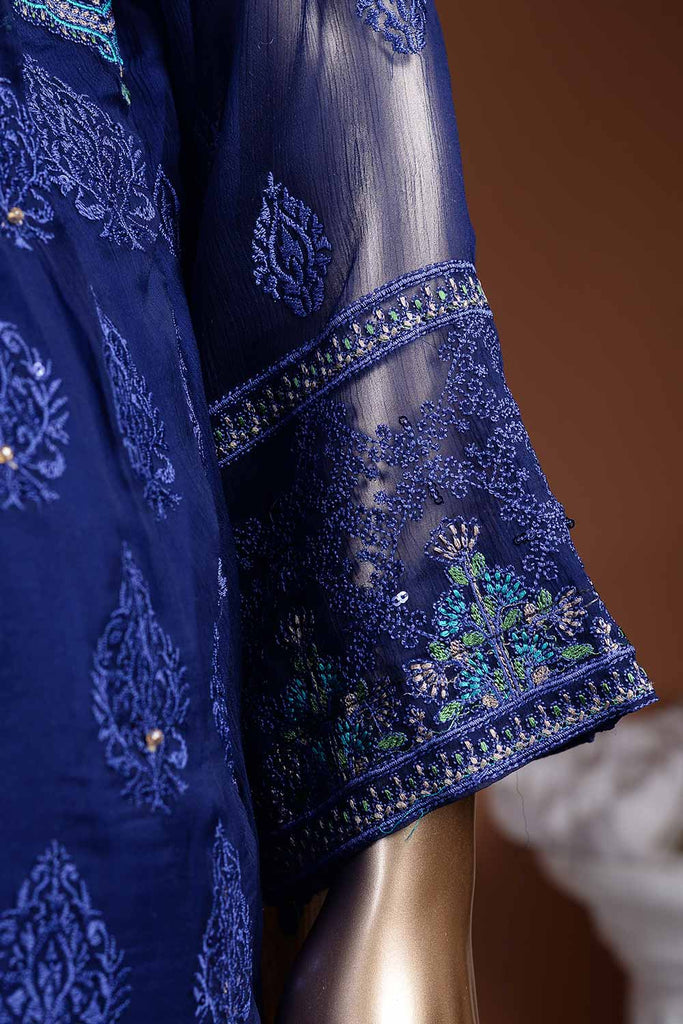 Midnight Blue (G7-1B) Embroidered Blue Chiffon Dress with Embroidered Chiffon Dupatta