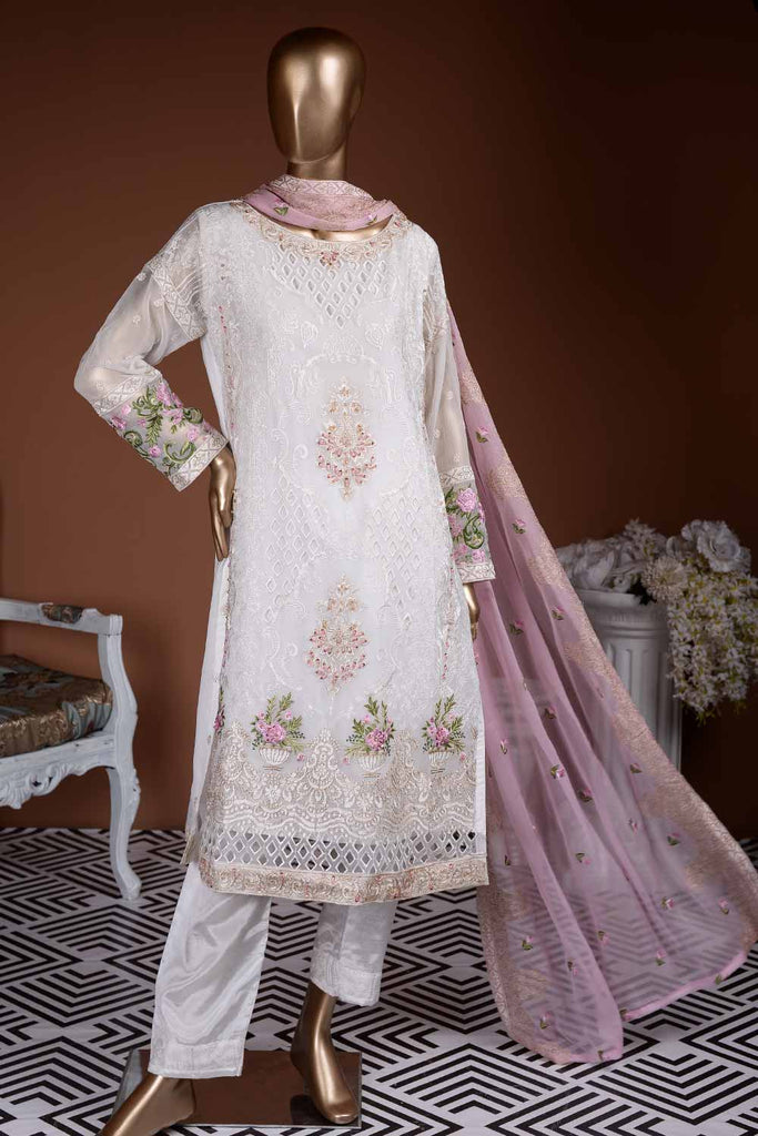 Sweet Frost (G7-2B) | Embroidered White Chiffon Dress with Embroidered Chiffon Dupatta